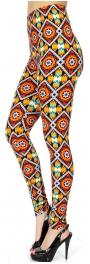 Wholesale Q50E Flower & diamonds print softbrush leggings
