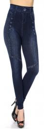 Wholesale C17D High waisted faux button denim print leggings Blue