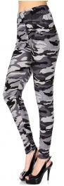Wholesale Q59B NEW MIX camouflage print softbrush leggings PLUS SIZE GREY