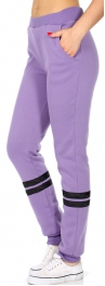 Wholesale Q84 Striped fleece lined track pants Honeysuckle