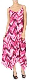 Wholesale I08C Abstract chevron handkerchief dress PLUS SIZE BLUE