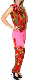 wholesale Q25-1 Sleeveless R neck floral print jumpsuit PK