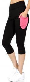 Wholesale A32 Colorblock side pocket capri leggings Pink