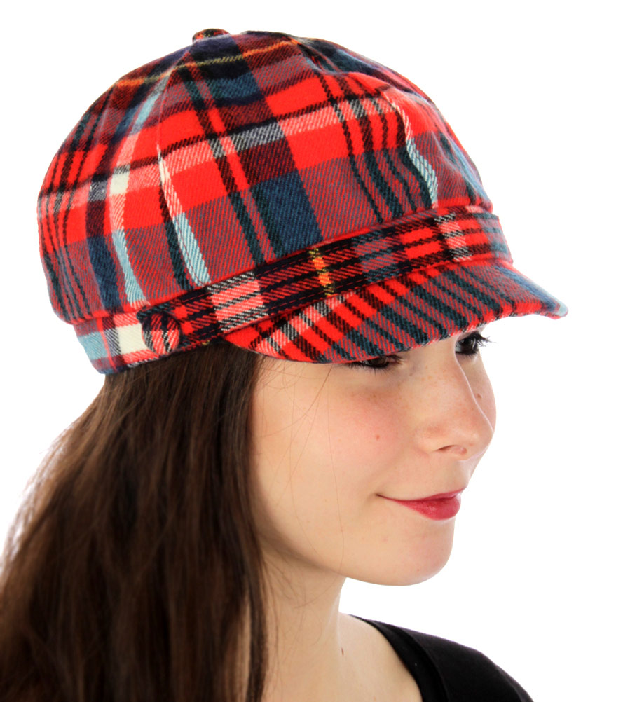 U28 Plaid woven cabbie with button RED