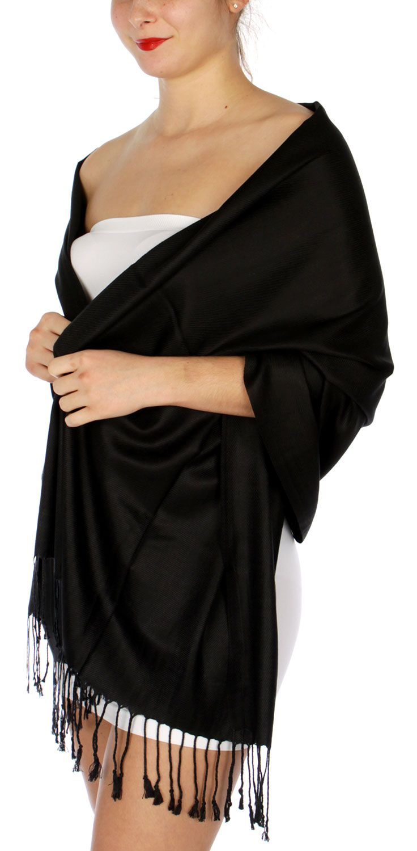 Silky Solid WEDDING Pashmina 01 Black