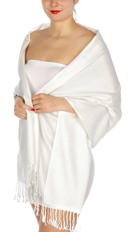 Silky Solid WEDDING Pashmina 02 White