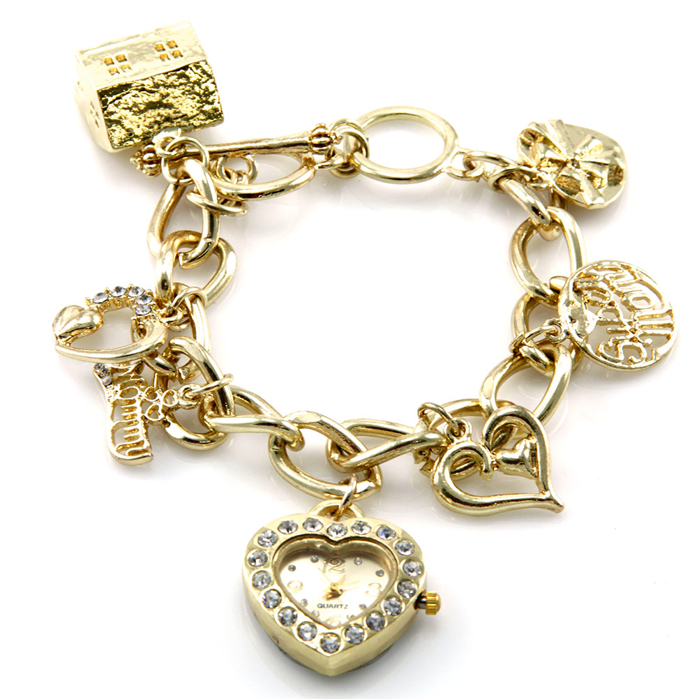 Charm Bracelet Watches: Wholesale N37 Christian Charm Bracelet Watch Gold