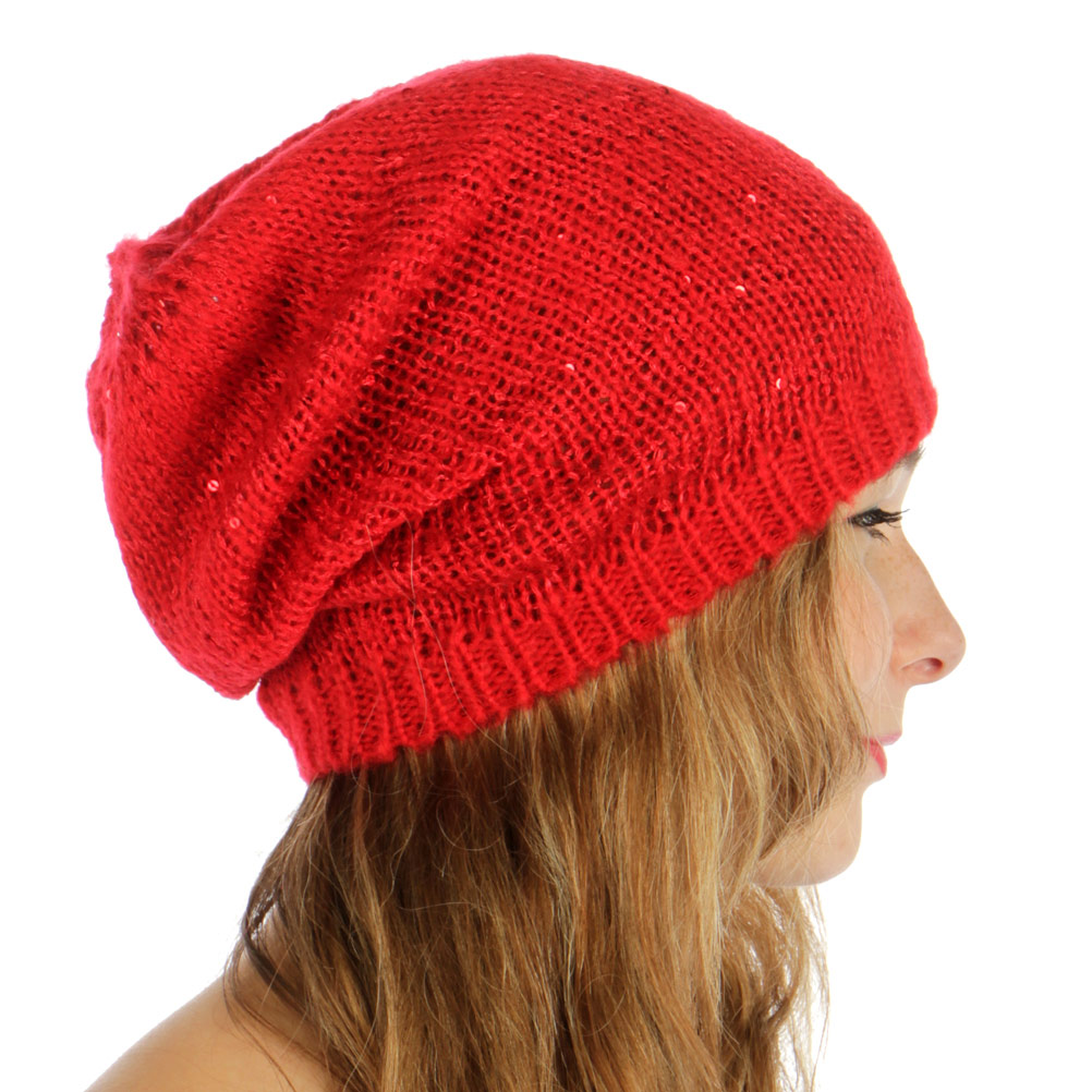 2d3018981750c wholesale F18 Sequined knit long beanie Red fashionunic