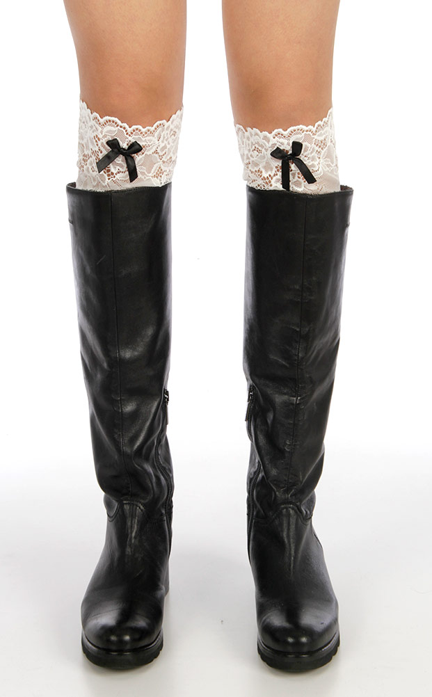 J08A Ribbon lace BOOTS toppers WJ