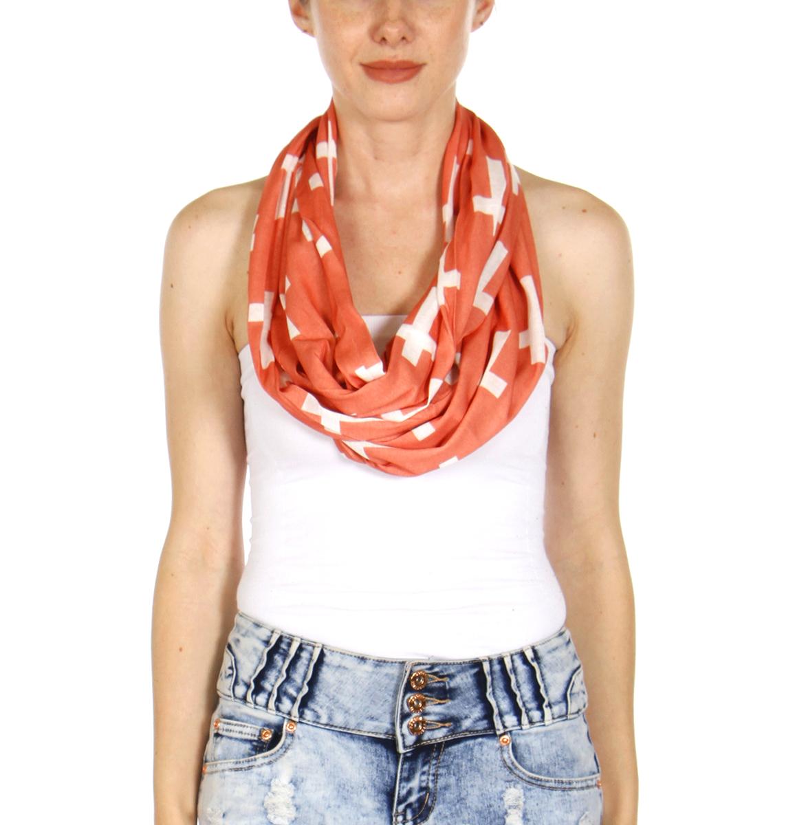 27176f45424e6 wholesale Cross print light weight infinity scarf