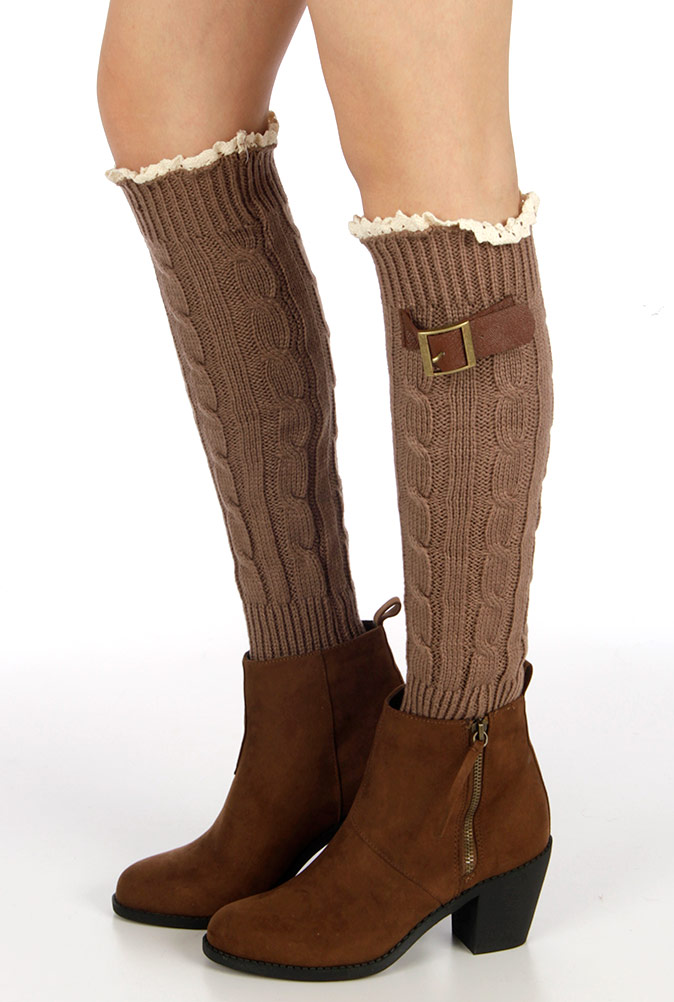 Embellished cable knit leg warmers