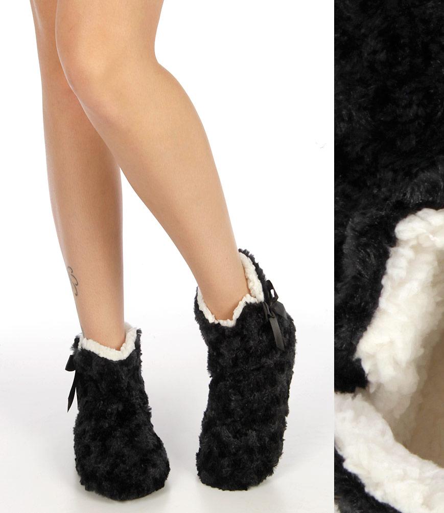 S70BX00 Poodle plush fleece long sleep SHOES Black
