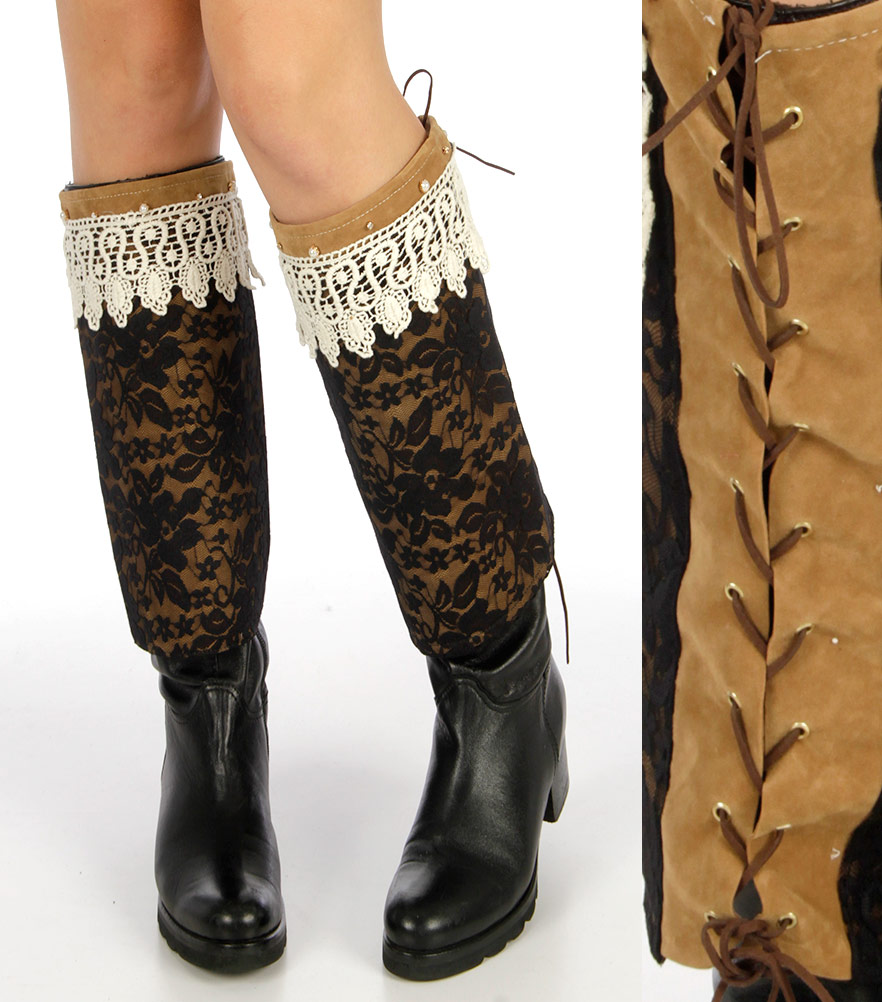 Lace covered faux suede boot covers