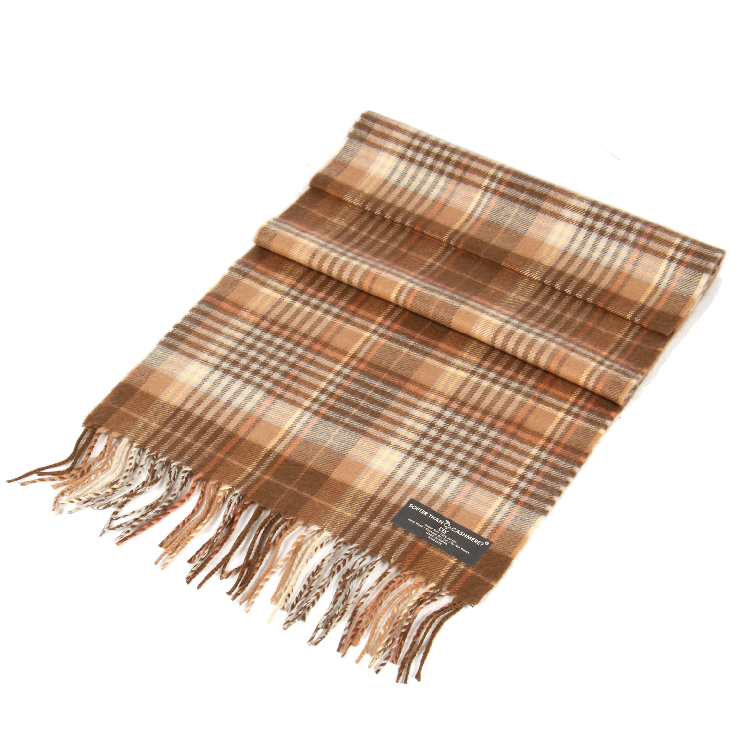 P33 Thin striped CASHMERE feel scarf Beige