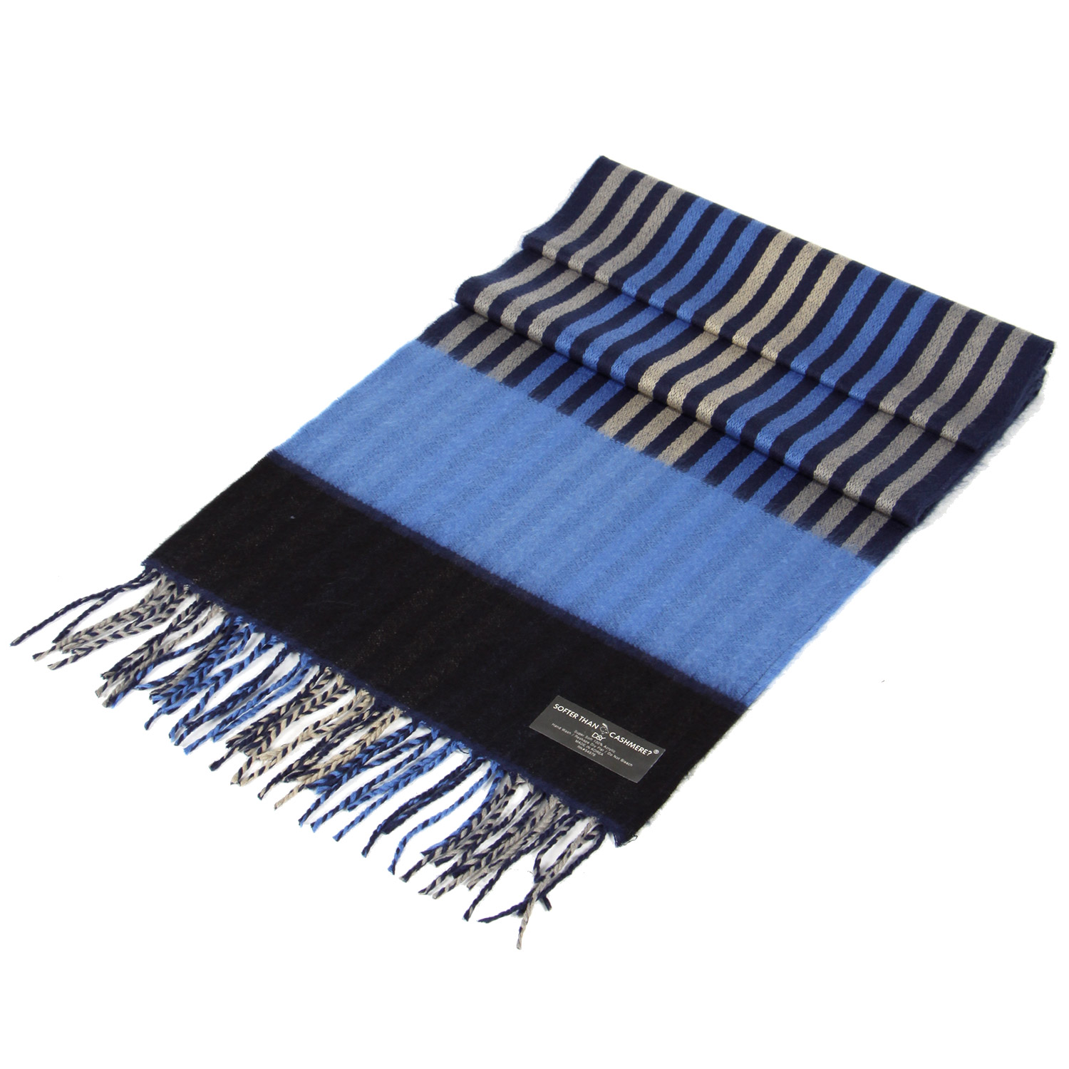O75A Striped colorblock CASHMERE feel scarf Navy