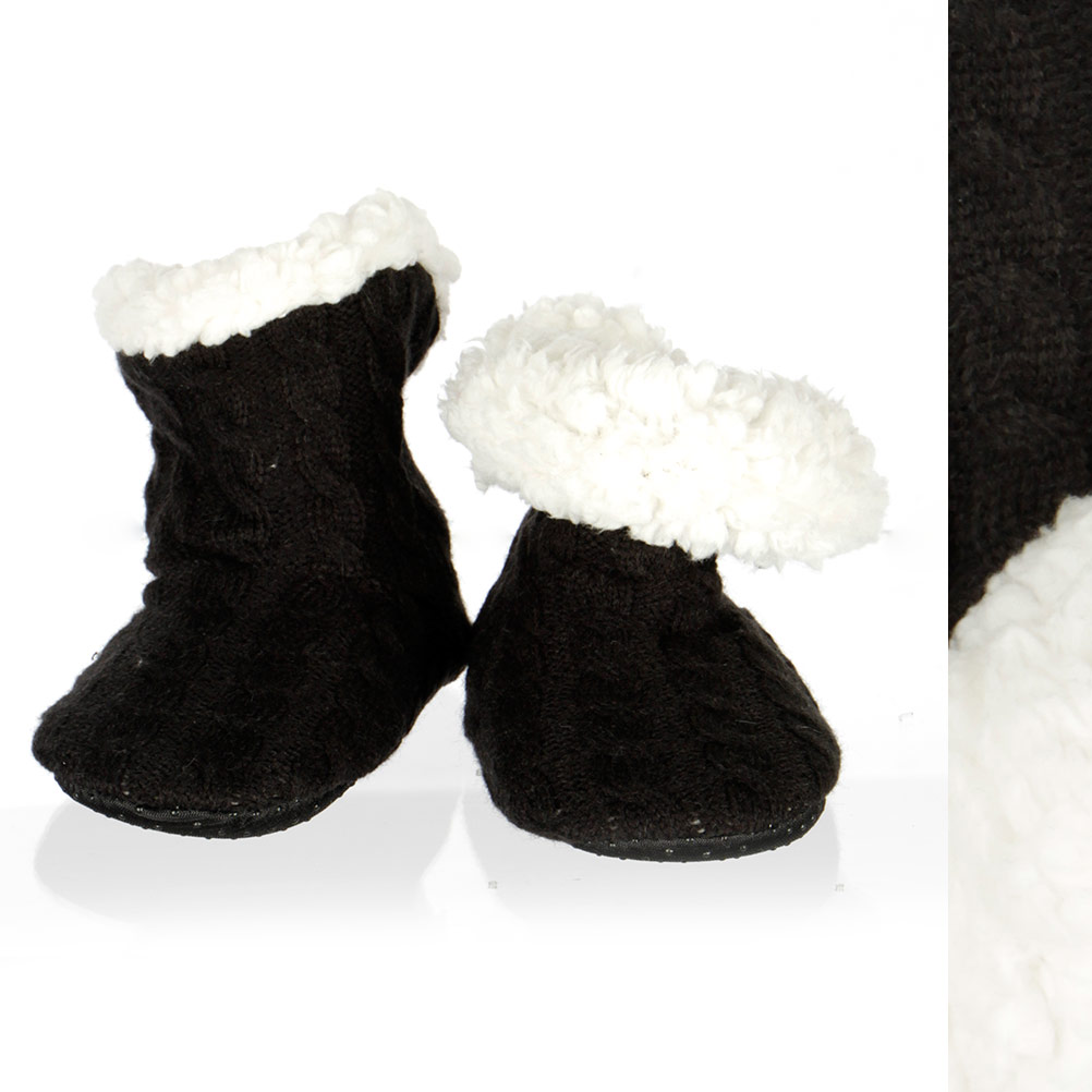 Kids cable knit ankle slippers