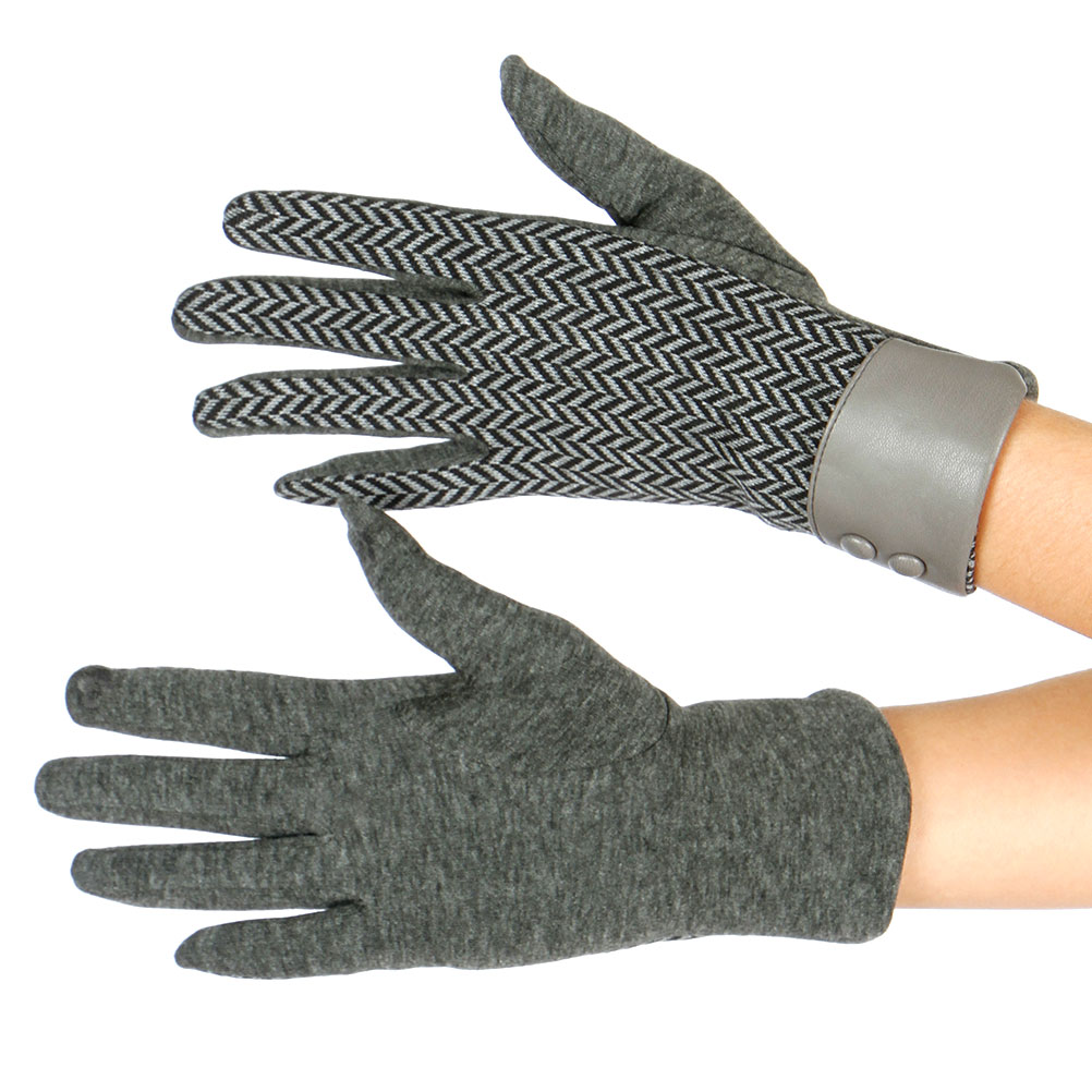 Womens LEATHER Wrist Touch Screen GLOVES