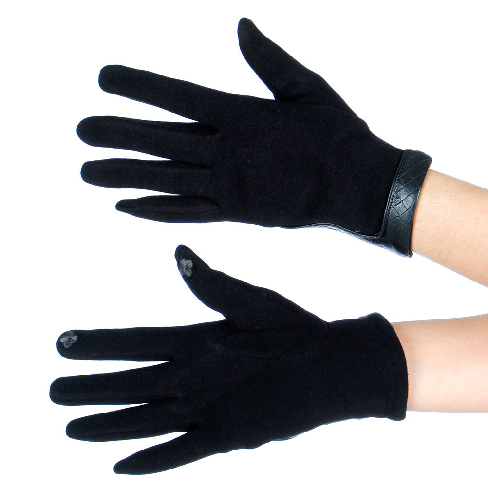 Solid LEATHER Wrist Trim Touch Screen GLOVES