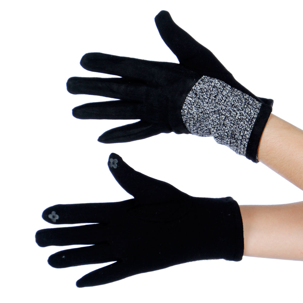 Wholesale Touch Screen Faux Suede Color Block Gloves