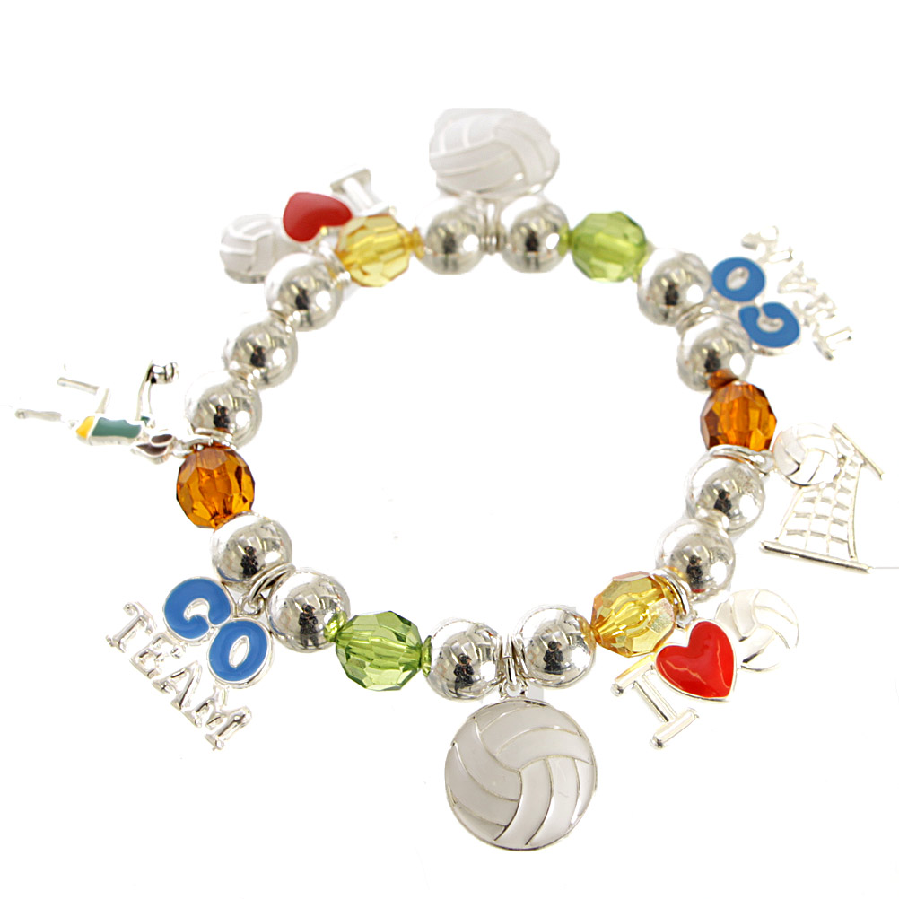 L04D VOLLEYBALL Charms Stretch Bracelet ASMX