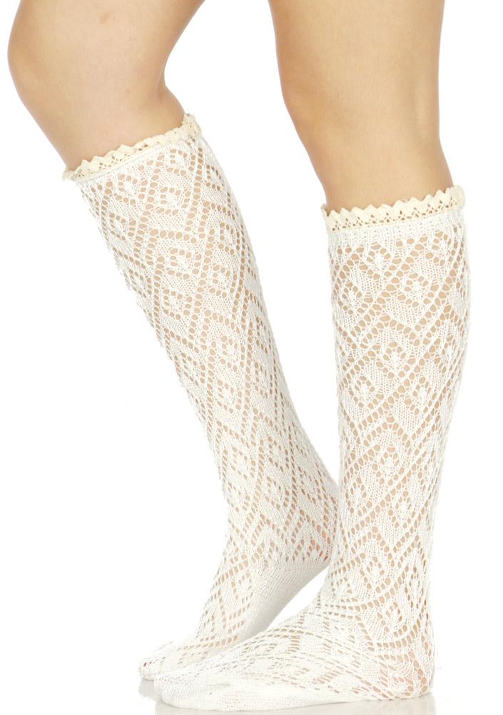 bac85ede492 Wholesale S07B Diamond pattern woven crochet lace top knee high socks W