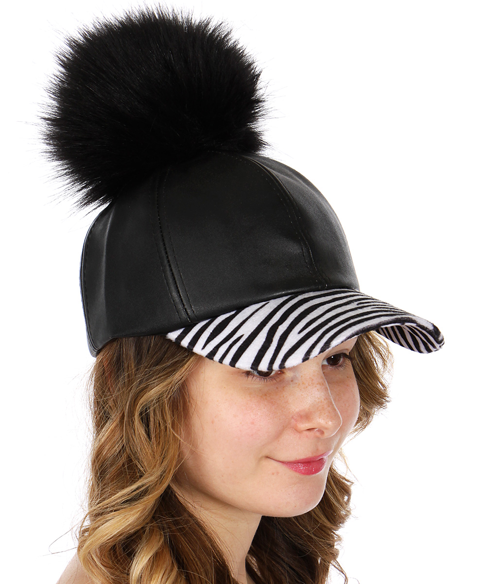 Q53C Faux leather BASEBALL CAP w/ zebra visor & faux fur pompom BKZEB