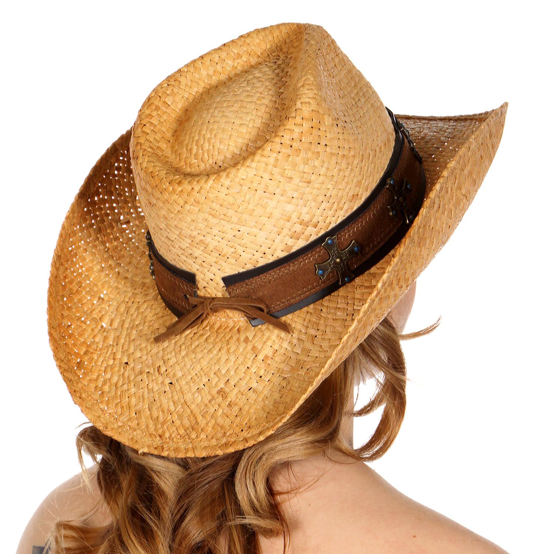 19e9779e05fdc Wholesale W02A Raffia cowboy hat w  faux leather metal cross band