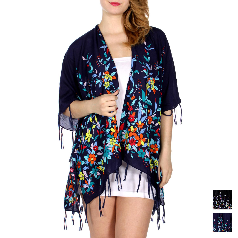 64063159374c Wholesale I34D Retro flower print short ruana w  tie up fringe