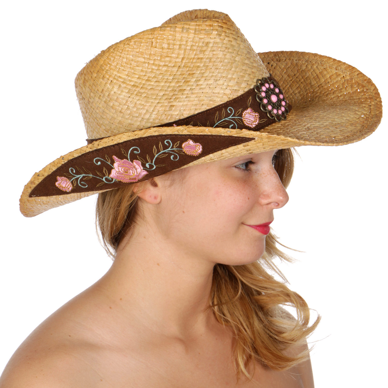 4e0c27022b2e2 Wholesale V04A Floral band raffia cowboy hat  tea stained