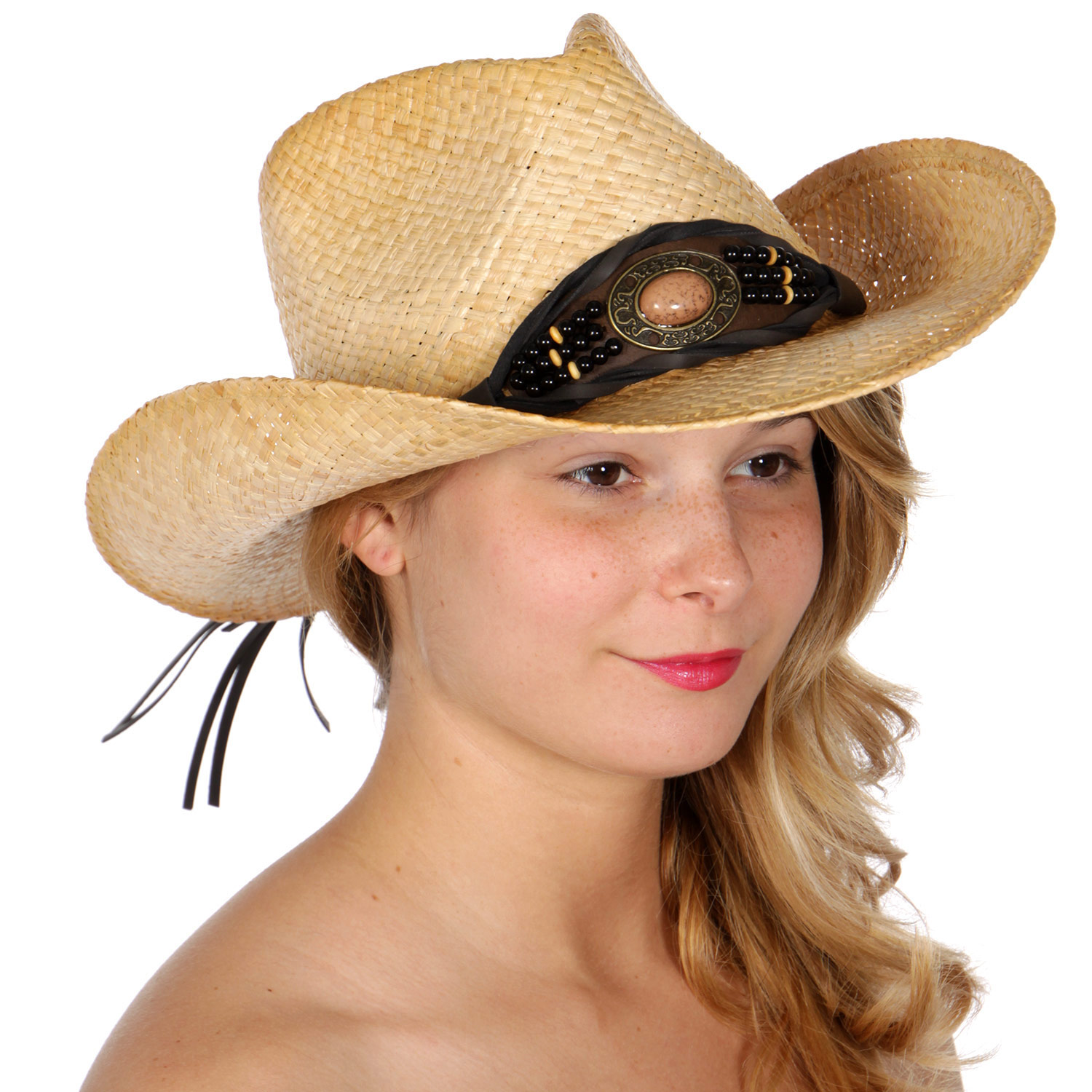 V57A Stone band raffia COWBOY HAT/ tea stained