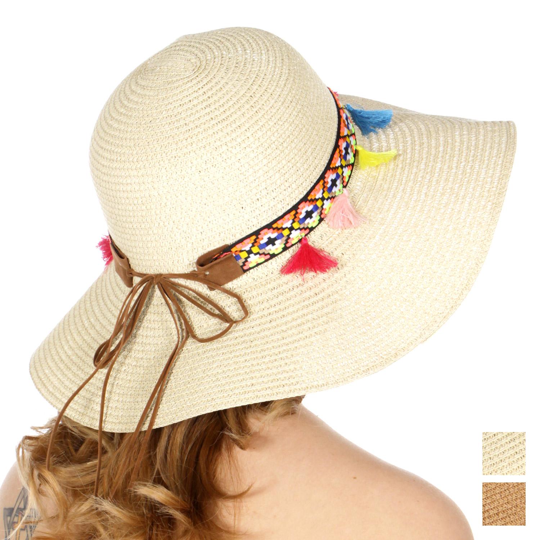 a0c454e33 V53D Tribal band & tassel floppy sun hat