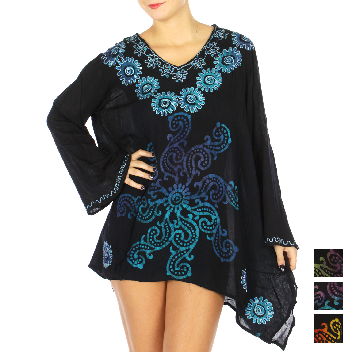 Floral Embroidery UMBRELLA Tunic Top