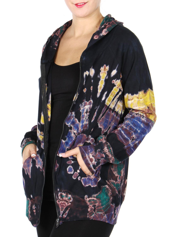 Cotton TIE DYE print hooded jacket Black