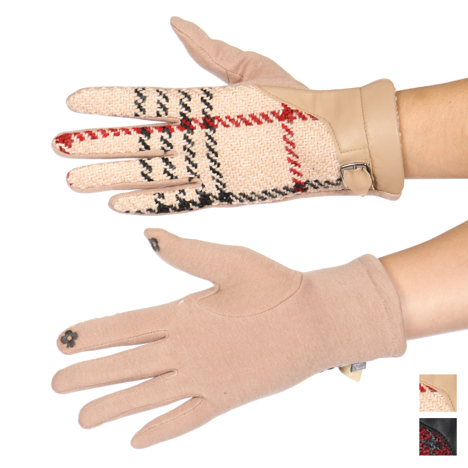 Plaid faux LEATHER cuff touch screen gloves