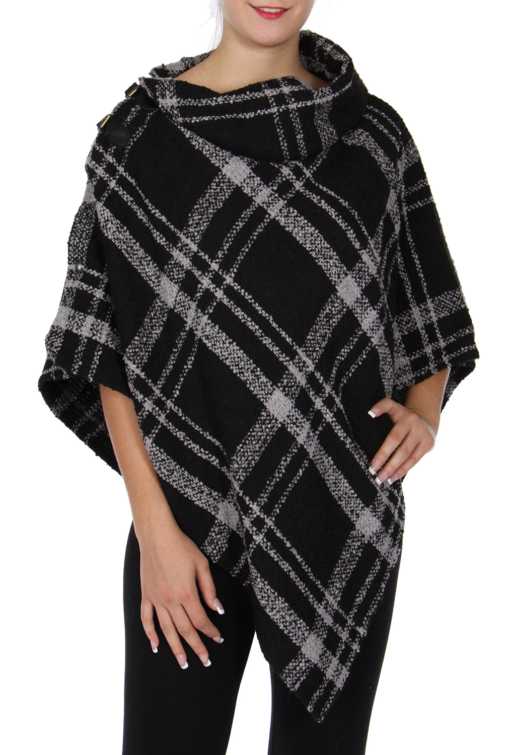 Collared woven poncho