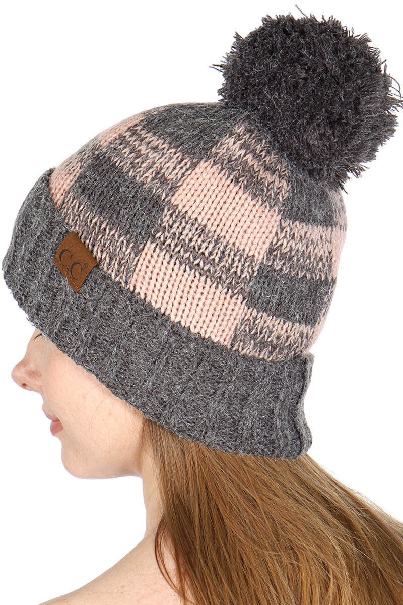 35e7ce75f97 wholesale C.C Fuzzy Lined Check Print fur inside Pom Pom Beanie Hat