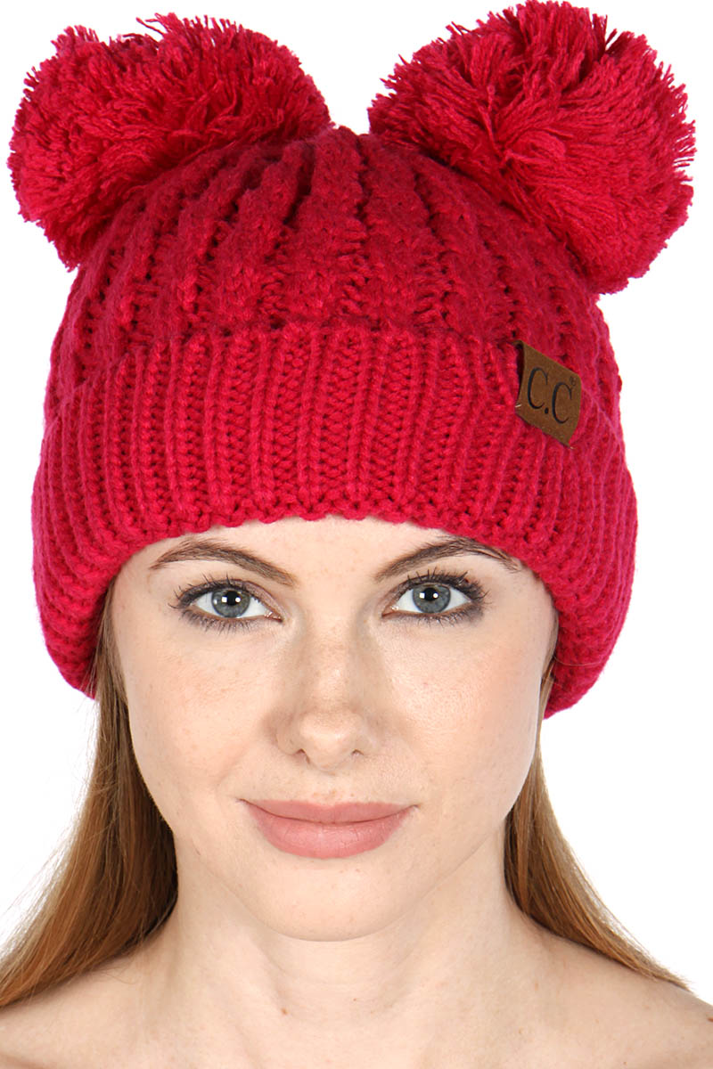 84fbadd1170 wholesale C.C Solid Thick cable knit double pom pom Beanie Hat