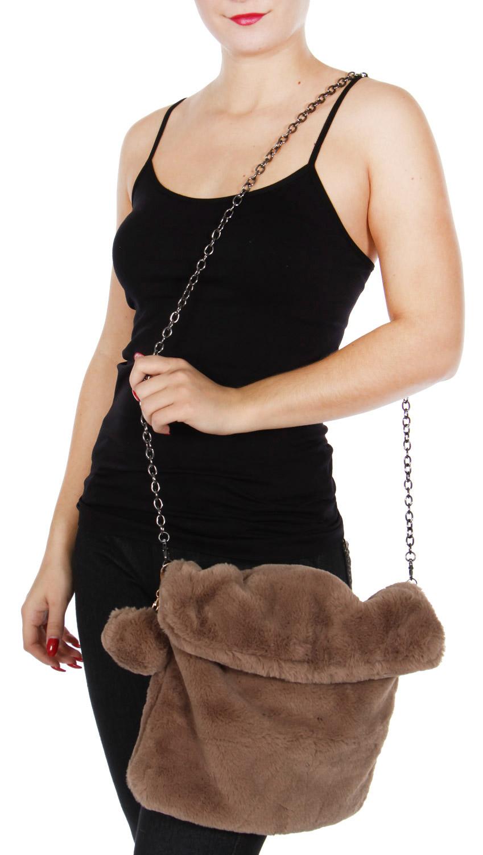 Y20B Slouchy faux fur CLUTCH bag BRW
