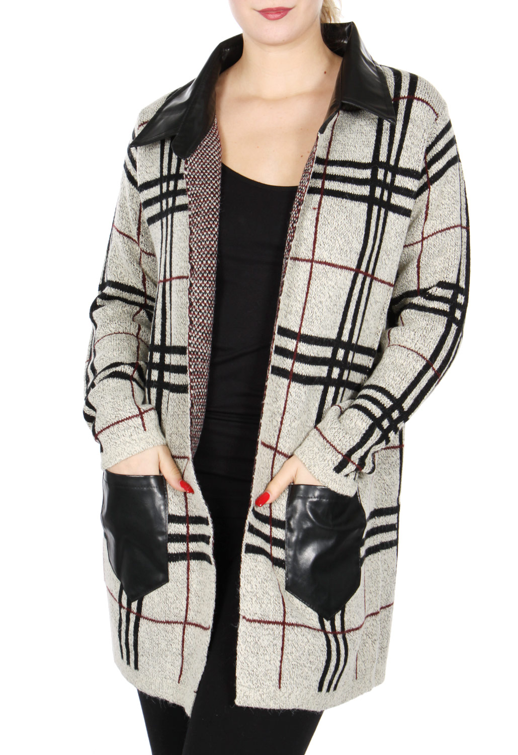 Open front faux LEATHER collar JACKET