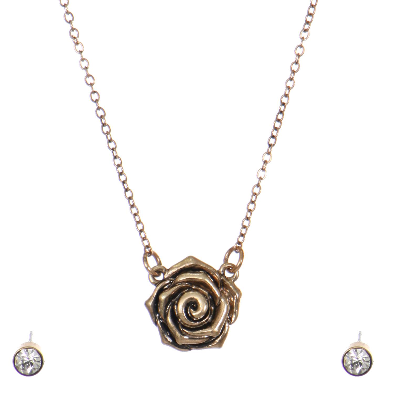 L31D Single rose STUD EARRINGS necklace set GB