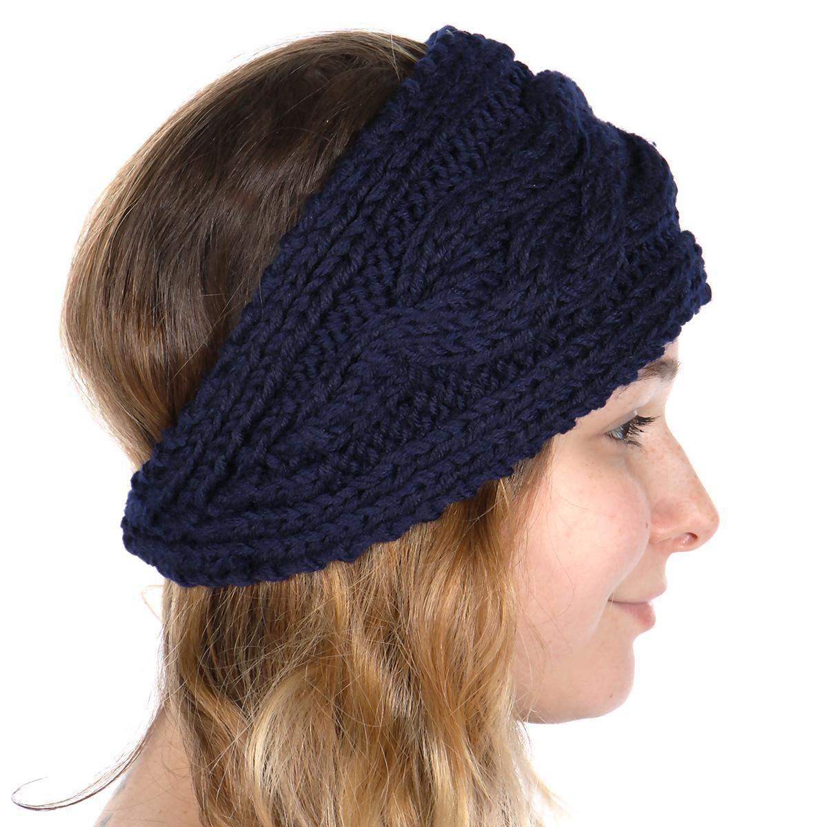 wholesale U55E Cable knit HEADBAND Navy