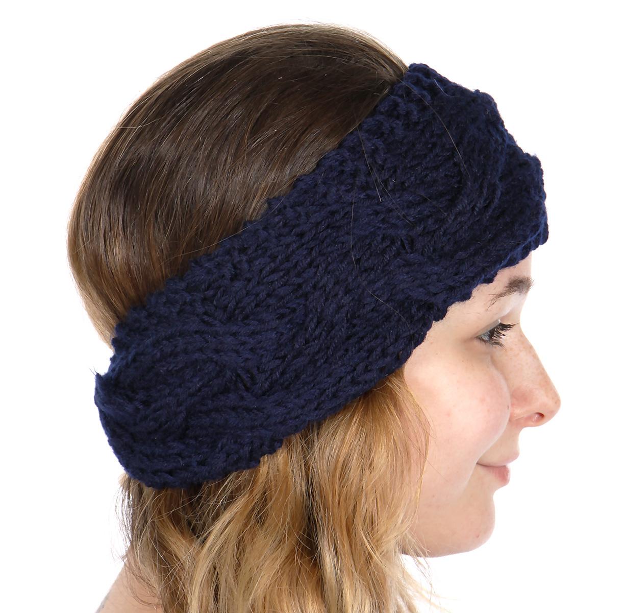 wholesale U56D Cable knit winter HEADBAND Navy