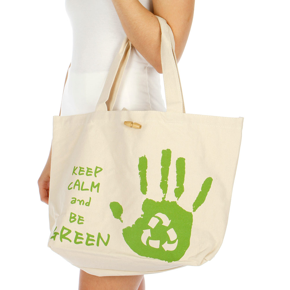 ''V85 Keep calm and go green cotton tote SHOULDER BAG GN-Large (19 X 13'''')''