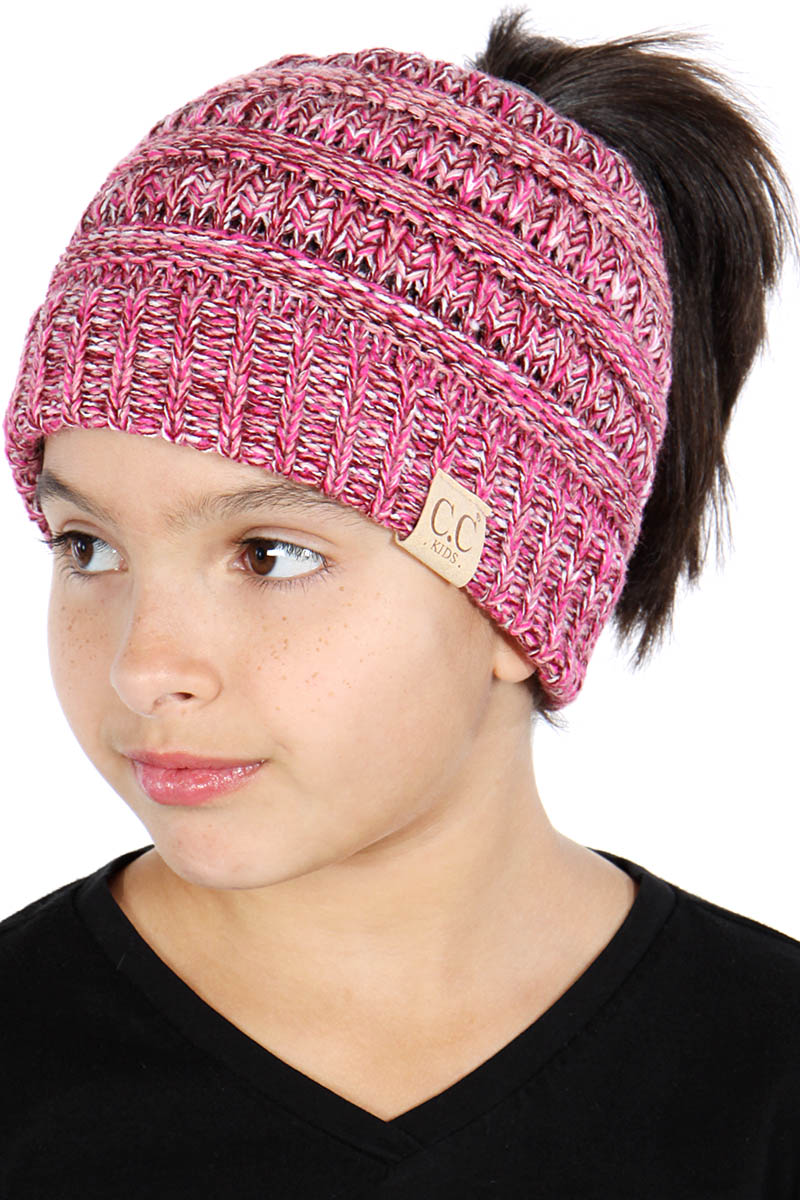 Q79D C.C Children beanie pony tail messy bun hat Made in Korea f44f45a43b5