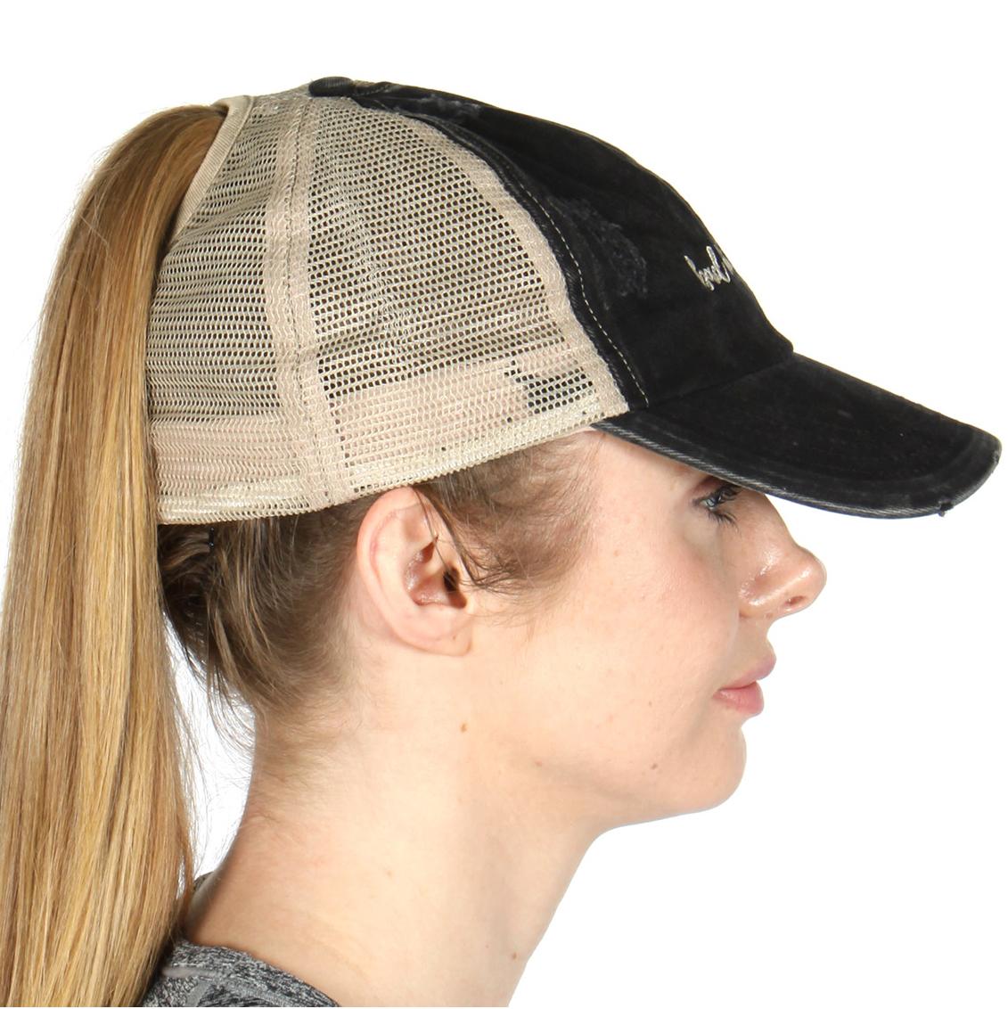 cf2911f7d22 wholesaelP10E Distressed Mesh Back Trucker baseball Pony Tail lettering Cap