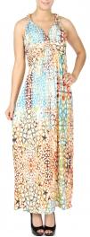 Wholesale K60C Gold foil circular web print maxi dress PLUS SIZE GREEN