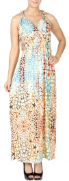 Wholesale K60C Gold foil circular web print maxi dress PLUS SIZE GREEN