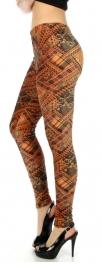 wholesale B02 Multi pattern velour leggings Rust S