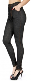 Wholesale A33BX0 Solid Jeggings Black