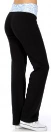 Wholesale N43 Multicolored foldover cottonblend pants Blue